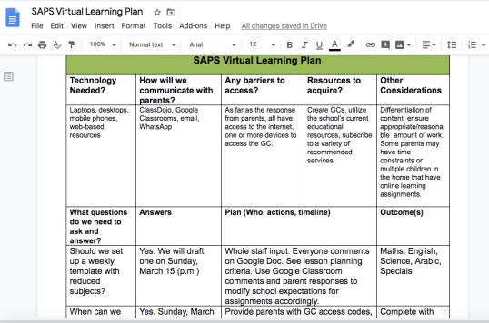 Online Learning Plan